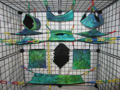 15 pc Bedding - Sugar Glider Cage Set - Rat - Aqua Tie Dye