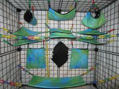 15 pc Bedding - Sugar Glider Cage Set - Rat - Blue Green Tie Dye