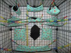 15 pc Bedding - Sugar Glider Cage Set - Rat - Teal Mini Owl