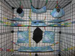 15 pc Bedding - Sugar Glider Cage Set - Rat - Light Blue Taiwan Swirl
