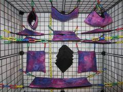 15 pc Bedding - Sugar Glider Cage Set - Rat - Space Cloud Tie Dye