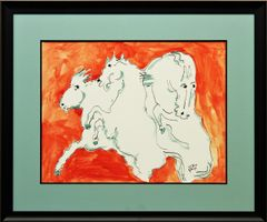 White Horses on Orange