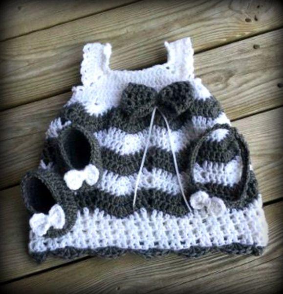 Crochet Baby Dressbaby Shower Giftcrib Shoesheadband Kountry