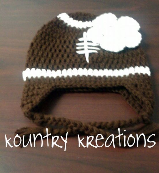 Crochet Football Hat With Earflaps Kountry Kreations