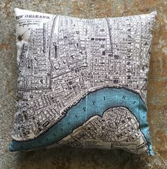 New Orleans Vintage Map Pillow
