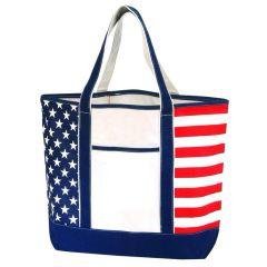 USA Flag Large Canvas Tote Bag