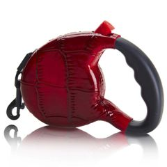 Executive Red Faux Crocodile Retractable 9 foot Leash