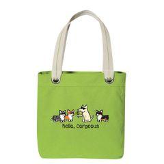 Hello Corgeous Canvas Tote Bag