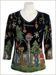 Meow Meow Christmas Shirt - Black
