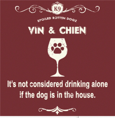 Vin and Chien - Burgundy (Ladies V-neck MEDIUM)
