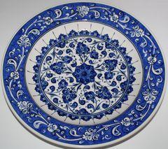 "12"" Blue & White Turkish Hand-painted Iznik Floral Pattern Ceramic Plate"