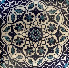 "Turkish Iznik Blue Daisy Pattern 8""x8"" Ceramic Tile"