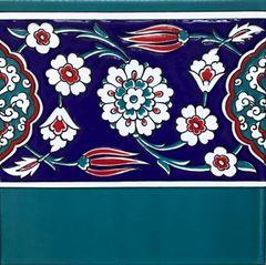 "8""x8"" Turkish Iznik Floral Pattern Ceramic Border Tile"
