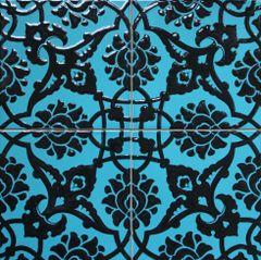 "Set of 20 8""x8"" Turkish Turquiose & Black Iznik Floral Pattern Ceramic Tile"