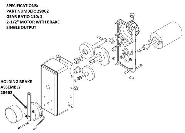 barker slide out powerhead drive assembly holding brake