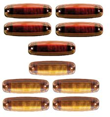 Amber And Red 12 Diode LED Marker Light Complete Kit L14-0026A&R-KIT
