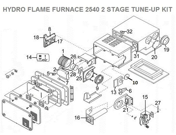 atwood   hydroflame furnace model 2540 2 stage tune up kit