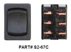 12 VDC Mini Switch, Momentary / Off / Momentary, Black