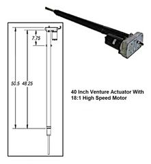 Venture 40 Inch Actuator With 18:1 High Speed Motor