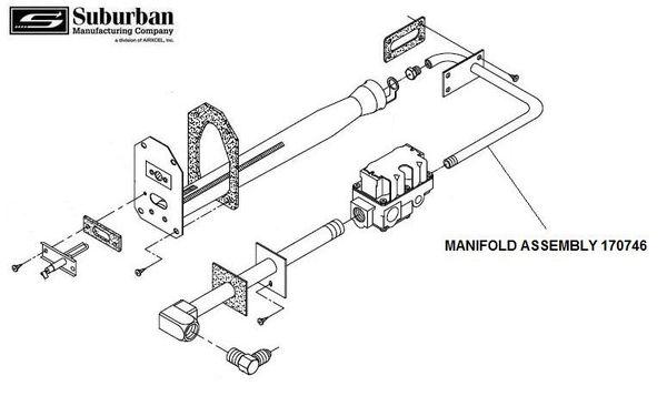 suburban furnace manifold assembly 170746