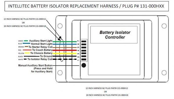 intellitec battery isolator control harness   plug  131