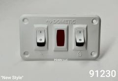 Atwood Water Heater Switch Kit, Dual Panel, 12 VDC, White, 91230