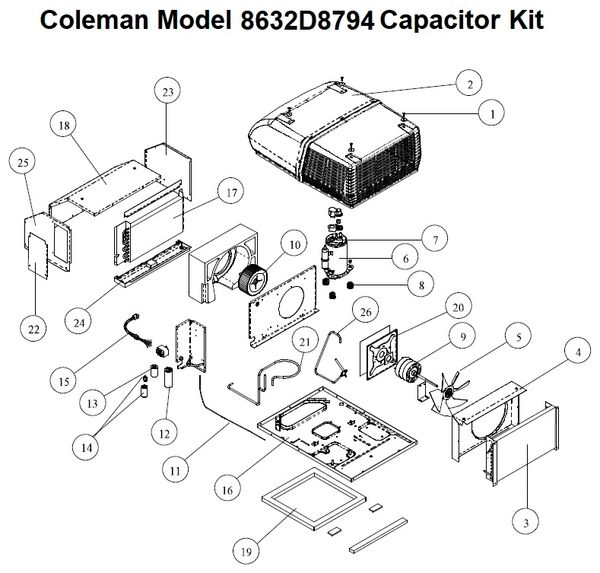 coleman air conditioner model 8632d8794 capacitor kit