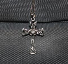 Buck Lee's Naturals Sterling Cross With Single Small CZ Center & Chain