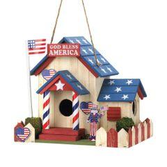 Wooden Songbird Valley God Bless America Birdhouse