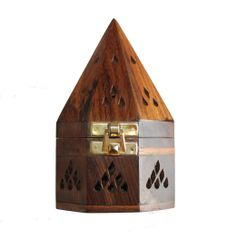 Wooden Incense Burner With Gold Tone Clasp Free Shipping