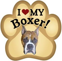 I Love My Pointed Ear Boxer Paw Magnet
