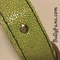 1.5 inch Green with Yellow Leather Dog Collar