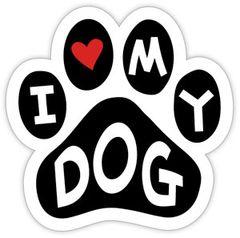 I Love My Dog Paw Magnet