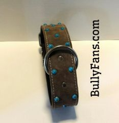 "2"" Brown Suede Dog Collar with Turquoise Studs"