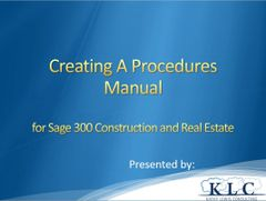 Sage 300 CRE - Creating A Procedures Manual