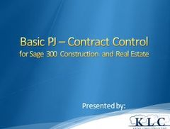 Sage 300 CRE - Project Management Contract Control