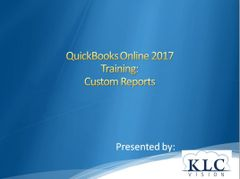 QuickBooks Online 2017- Custom Reports