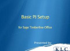 Sage 300 CRE - Basic PJ Setup