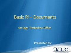 Sage 300 CRE - Basic PJ Document Control