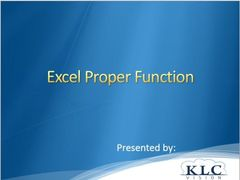 Excel - Proper Function