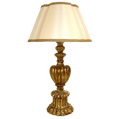 CARVED ITALIAN GILT-WOOD CALLA TABLE LAMP BY RANDY ESADA DESIGNS
