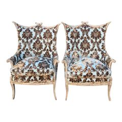 Mid Century Grosfeld House Hollywood Regency Cut Velvet Arm Chairs - A Pair