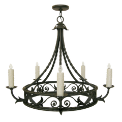 ELEGANT SPANISH MEDITERRANEAN WROUGHT IRON CHANDELIER BY RANDY ESADA DESIGNS