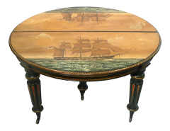 ANTIQUE REGENCY PERIOD BREAKFAST TABLE W NAUTICAL PAINTING TOP C.1810