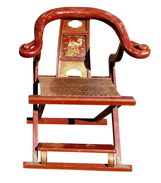 Antique Chinese Red Folding Merchant Chair - Antique Chinese Red Folding Merchant Chairs- A Pair LOS ANGELES
