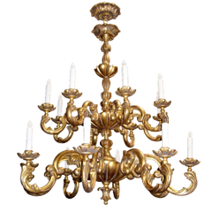 CARVED ITALIAN GILT-WOOD SIXTEEN ARM CHANDELIER BY RANDY ESADA DESIGNS FOR PROSPR