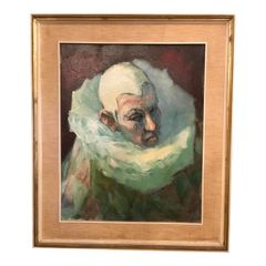 Original Oil Painting of a Clown by Kenneth Draper