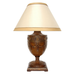 CARVED GEORGIAN WALNUT TABLE LAMP BY RANDY ESADA DESIGNS