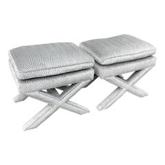 Pair of Fully Upholstered Designer X Benches in Silver Cut Velvet