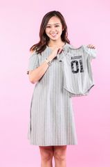Grey Pinstripe Nursing Dress & Baby Romper